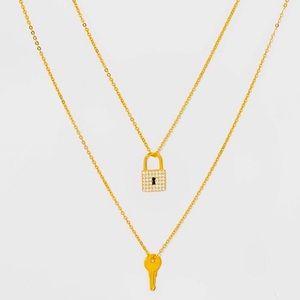 NWT BaubleBar SugarFix 14K Gold Lock and Key Layered Necklace